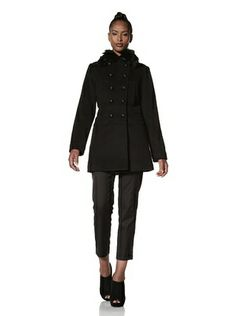 72% OFF Hilary Radley Women's Military Coat with Fox Fur (Black)