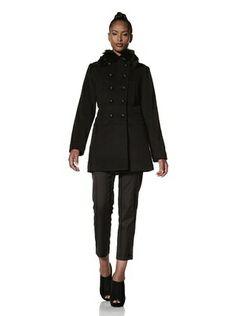 72% OFF Hilary Radley Women's Military Coat with Fox Fur (Black)