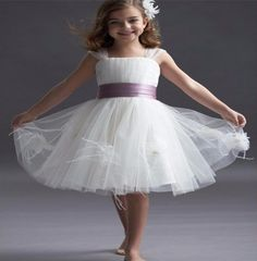 New Fashion A-Line Tulle Boat Neck Flower Girls Dresses Short Cap Sleeve Wedding Party Dress Sashes Ribbons Pleat For Girls