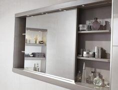 Sliding bathroom mirror cabinet from Utopia Bathrooms.