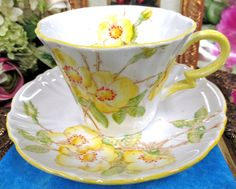 ROYAL ALBERT CROWN CHINA TEA CUP AND SAUCER 1920'S WILD ROSE PATTERN TEACUP