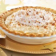 """Toasted"" Coconut Custard Pie (Easy; 8 servings) #coconut #custard #pie"