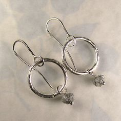 Natural Rough Diamond Hoop Earrings by artifactum on Etsy, $210.00