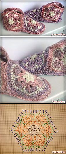 Ideas Crochet Granny Square Flower Pattern For 2019 Love Crochet, Crochet Granny, Crochet Gifts, Crochet Yarn, Crochet Stitches, Crochet Flowers, Crochet Slipper Boots, Knitted Slippers, Crochet Slippers