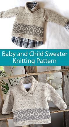 Knitting Pattern for Northgate Tweed Sweater for Baby and Children - This modern sweater has a traditional Fair Isle twist and is knitted in pieces….front, back, and sleeves. The shawl collar is knit Baby Knitting Patterns, Baby Sweater Patterns, Knit Baby Sweaters, Knitting Blogs, Knitting For Kids, Baby Patterns, Baby Knits, Easy Knitting, Boys Sweaters