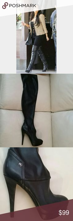 Guess thigh high boots New  Size 8.5  Black Wear it with pants with shorts they always looks hot no matter what! Guess by Marciano Shoes Over the Knee Boots