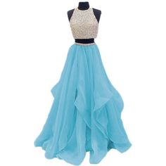 Dressytailor 2017 Two Piece Floor Length Organza Prom Dress Beaded... ($99) ❤ liked on Polyvore featuring dresses, gowns, beaded prom dresses, prom ball gowns, blue evening gown, blue prom dresses and blue evening dresses