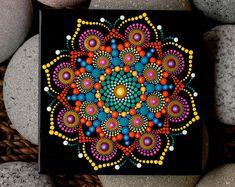 Handpainted mandala on Czechoslovakian Terracotta tile by Katy