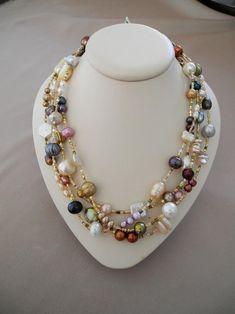 Pearl Jewelry, Wire Jewelry, Jewelry Crafts, Beaded Jewelry, Jewelery, Vintage Jewelry, Jewelry Necklaces, Handmade Jewelry, Pearl Necklace