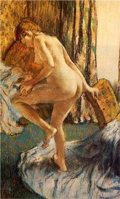 After the Bath - Edgar Degas Completion Date: c.1883 Style: Impressionism Genre: nude painting (nu) Technique: pastel