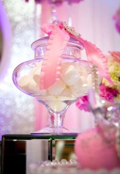 Marshmallows at a pink winter wonderland baby shower party! See more party ideas at CatchMyParty.com!