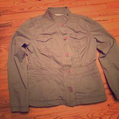DKNY jacket Olive green in good condition no holes no stain.. Runs small DKNY Jackets & Coats Utility Jackets