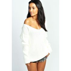 Boohoo Sasha Oversized V Neck Jumper ($26) ❤ liked on Polyvore featuring tops, sweaters, cream, white sweater, v neck crop top, acrylic v neck sweater, white crop top and pastel sweater