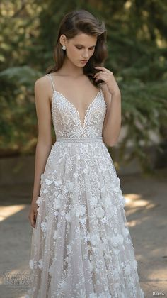 berta fall 2016 bridal romantic pretty a  line ball gown wedding dress spagetti strap sweetheart neckline floral appliques