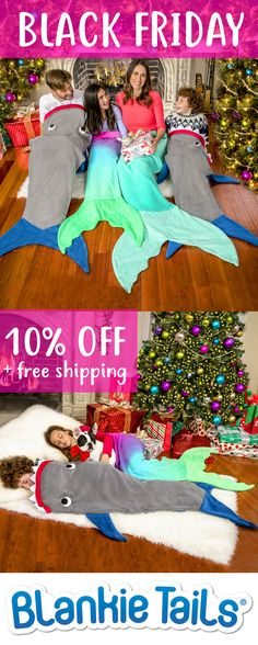 Blankie Tails� Mermaid & Shark Blankets are the NEW take on the Christmas Jammies...only more fun! Available for Mermaid & Shark enthusiasts of all ages! #thesnuggleisreal