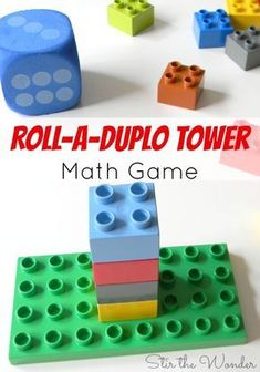 Roll a Duplo Tower Math Game is a fun way for toddlers and preschoolers to practice counting and fine motor skills in a playful way! #mathfortoddlers