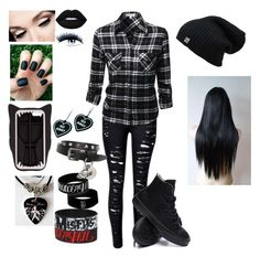 """Emo with a flannel... Awesome"" by swagqueen0 ❤ liked on Polyvore featuring Converse, STELLA McCARTNEY, Lime Crime, Black Magic Lashes, Alexander McQueen and Witch Worldwide"