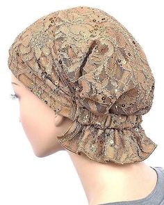 Diy Crafts - Abbey Cap Womens Chemo Hat Beanie Scarf Turban Headwear for Cancer Lace Sequin Beige Scrub Hat Patterns, Hat Patterns To Sew, Dress Sewing Patterns, Diy Scarf, Lace Scarf, Turban Hat, Scrub Hats, Scarf Styles, Hats For Women