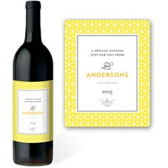 Yellow Geometric Cube Wine Labels