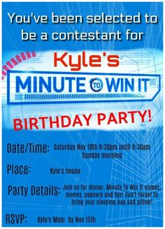 """Fantastic ideas for hosting a Minute to Win It birthday party at home! This post includes ideas for Minute to Win It games for kids with links to the """"blueprints"""", ideas for team prizes, cake, party favor, and lots of tips on how to make your Minute to Win it Party awesome!"""