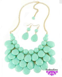 Mint Teardrop Necklace & Earrings - Endless Envy Boutique - Clothing & Jewelry #Fashion #Jewelry #Mint #Summer