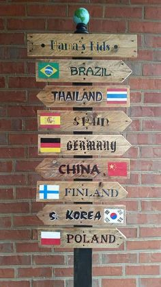 Pallet sign post of world countries my friends foreign exchange students traveled from
