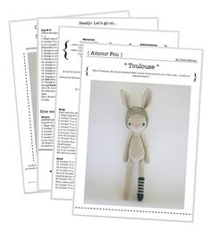 {This is an INSTANT DOWNLOAD PDF CROCHET PATTERN, NOT the finished doll. If you are looking for the finished doll, please contact me...} This is Toulouse, the absent-minded rabbit. In fact, he has just lost one of his socks… Can you help him find it? SKILL LEVEL: EASY. This is a