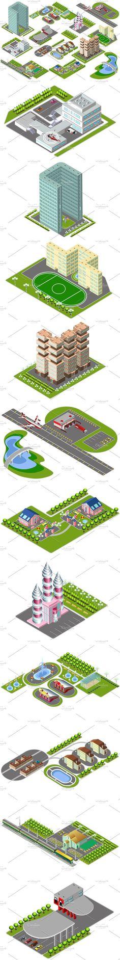 Isometric Buildings City Center. Graphic Design Infographics. $12.00