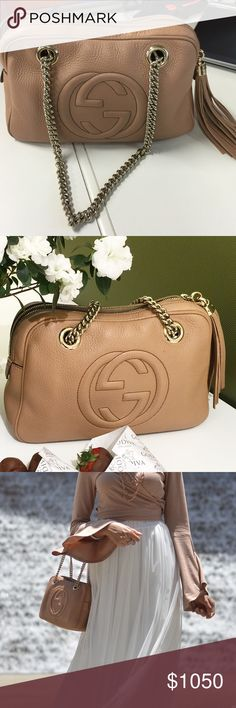 Gucci soho leather chain beige bag (medium) Got it a month ago and barely used it. Wanting a bigger bag for everyday! Completely clean not a single scratch,mark or tear. Comes with dust bag and Gucci store bag. Offers via pp accepted. Gucci Bags Shoulder Bags