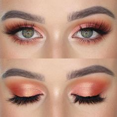 Gorgeous Makeup: Tips and Tricks With Eye Makeup and Eyeshadow – Makeup Design Ideas Coral Eye Makeup, Coral Eyeshadow, Makeup For Green Eyes, Eye Makeup Tips, Eyeshadow Looks, Makeup Goals, Makeup Inspo, Eyeshadow Makeup, Makeup Inspiration
