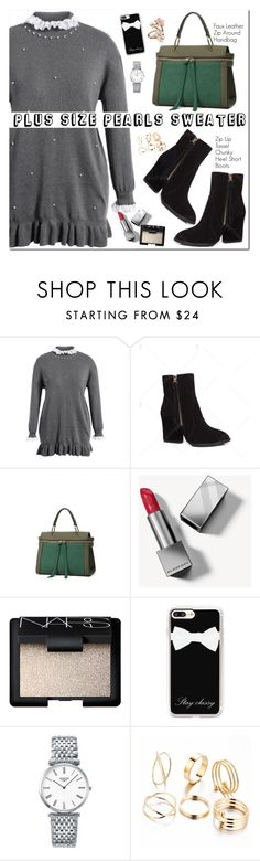 """Plus Size Pearls Sweater"" by oshint ❤ liked on Polyvore featuring Burberry, NARS Cosmetics, Casetify, Longines and Accessorize"