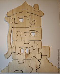 Купить Трехэтажный коттедж со зверюшками:) - деревянные пазлы, игрушки из дерева, развивающая игрушка