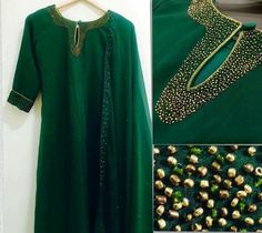 For oders and details ping me 9895473878 Salwar Suit Neck Designs, Churidar Designs, Dress Neck Designs, Bridal Blouse Designs, Hand Embroidery Dress, Kurti Embroidery Design, Embroidery Fashion, Embroidery Works, Embroidery Ideas