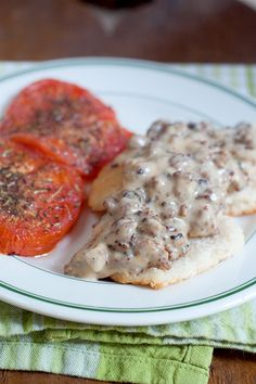 Sausage Gravy and Biscuits with Tomatoes - @Lana Stuart | Never Enough Thyme