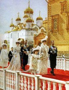 Solemn ceremony of the Imperial Family in the Kremlin on Palm Sunday. April 1903 Artist N. Tsar Nicolas, Tsar Nicholas Ii, Alexandra Feodorovna, Czar Nicolau Ii, Familia Romanov, Anastasia Romanov, Grand Duchess Olga, House Of Romanov, Grand Duke