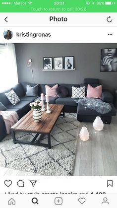 Natürlicher Stil im skandinavischen Stil - Decoracion de salas - Diy Room Decor Living Room Grey, Home Living Room, Apartment Living, Interior Design Living Room, Living Room Designs, Living Room Decor, Interior Livingroom, Apartment Interior, Blue And Pink Living Room