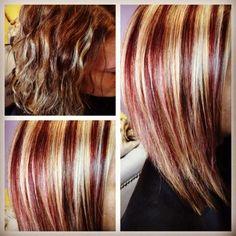 Before & after! I gave her red & blonde highlights!
