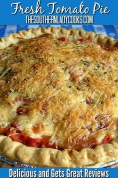 REPLY Lori June 2019 at AM Best tomato pie I've ever had! Thank you so much for this wonderful recipe! Fresh Tomato Recipes, Tomato Salad Recipes, Vegetable Recipes, Vegetarian Recipes, Cooking Recipes, Tomato Pie With Bacon Recipe, Tomato Ideas, Bacon Pie, Gourmet
