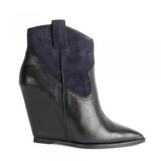 Ash JUDE black leather and midnight suede wedge boots - Ash from Ash  Footwear UK Scarpe 73b1fa13e99