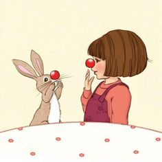 by Mandy Sutcliffe (Belle and Boo) Cute Illustration, Watercolor Illustration, Baumgarten, Rabbit Crafts, Kids Room Paint, Red Nose Day, Bunny Art, Beatrix Potter, Poster