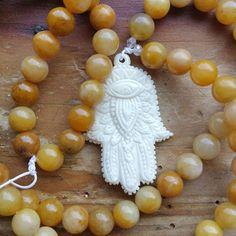 Hamsa Protection Mala, hamsa mala, hamsa prayerbeads, protection mala, protection prayerbead, power mala, power prayerbead, pagan mala by MagickAlive on Etsy