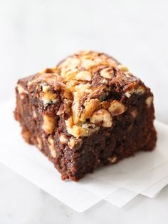 Swirled Mascarpone Brownies with Hazelnuts is based on my favorite recipe from @Mary Waters Lawson but kicked up a notch at foodiecrush.com #recipe #dessert