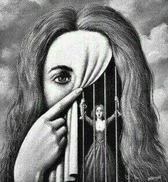 art surrealista To me this art is saying that you show one thing but feel another. you can show happiness but still feel caged in with nobody to turn or talk to about your feelings. Arte Obscura, Surreal Art, Art Plastique, Art Inspo, Art Sketches, Tattoo Sketches, Amazing Art, Awesome, Cool Art