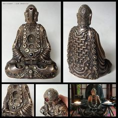regram @benridgwayart Bronze Buddha Electric collab with @smokovichdesigns . Topaz hematite and garnet with custom designs and stippling. #buddha #buddhakan #sculpture #bronze #jewels #zbrush #psy #psychedelic #meditation #meditating