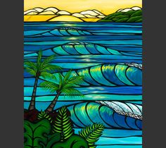 Sunset Swell - The setting sun glowing through the breaking waves of at Sunset Beach on the North Shore of Oahu Hawaii by Hawaii surf artist Heather Brown Heather Brown Art, Hawaiian Art, Hawaiian Designs, Hawaiian Decor, Water Images, Hawaii Surf, Beach Art, Sunset Beach, Posca