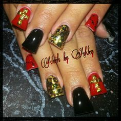 Red gold cross black rosary gel nails leopard print
