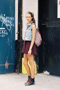 cute look with backpack