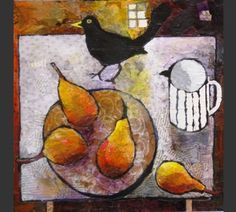 Anuk Naumann - Golden Pears Kids Painting Projects, Still Life Artists, Illustration Art, Illustrations, Fruit Painting, Art Corner, Painting Still Life, Naive Art, Bird Art