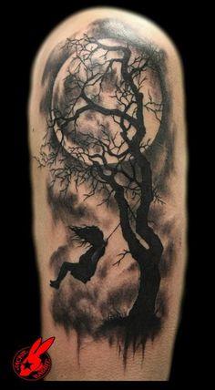 Thiiiiiiissssss! Black and grey girl on a swing with full moon and tree silhouette tattoo idea. Gorgeous and feminine, yet dark...sooo me.-Birdy