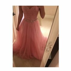 Sherri Hill long dress Pink dress with rhinestone waist. Has a beautiful pink lace design underneath the tulle. Sweetheart neckline, strapless. Only wore once. Sherri Hill Dresses Prom